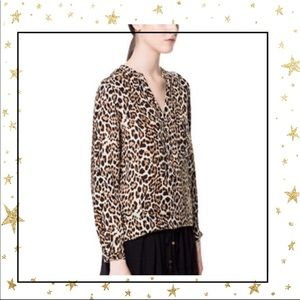 Zara Basic Small Animal Print Long sleeve Blouse